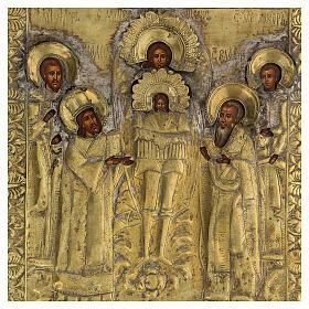 Icona russa tavola antica Tempio dell'Arcangelo Michele XIX sec 40x30 cm Restaurata s3
