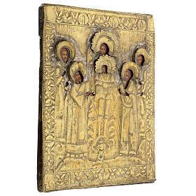 Icona russa tavola antica Tempio dell'Arcangelo Michele XIX sec 40x30 cm Restaurata s5