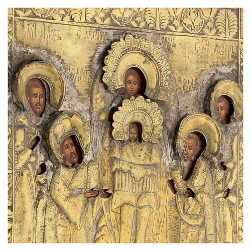 Icona russa tavola antica Tempio dell'Arcangelo Michele XIX sec 40x30 cm Restaurata 2