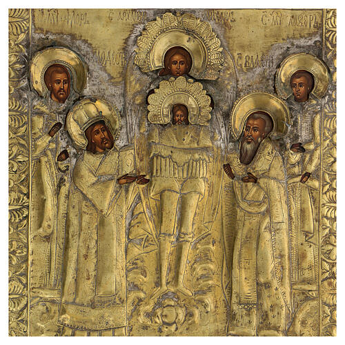 Icona russa tavola antica Tempio dell'Arcangelo Michele XIX sec 40x30 cm Restaurata 3