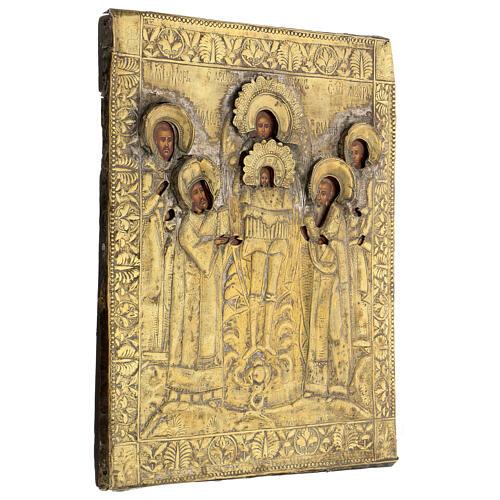 Icona russa tavola antica Tempio dell'Arcangelo Michele XIX sec 40x30 cm Restaurata 5