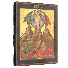Icona russa Trasfigurazione ridipinta tavola XIX secolo 35x25 cm s4