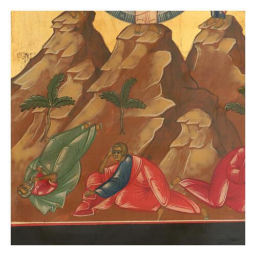 Icona russa Trasfigurazione ridipinta tavola XIX secolo 35x25 cm 3