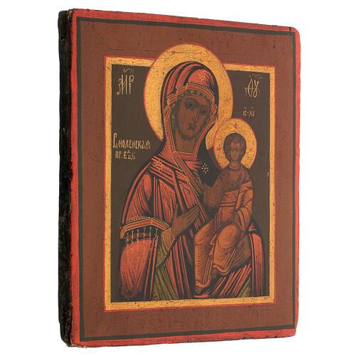 Icona russa tavola antica Madonna di Smolensk XIX sec 30x25 cm Restaurata 3