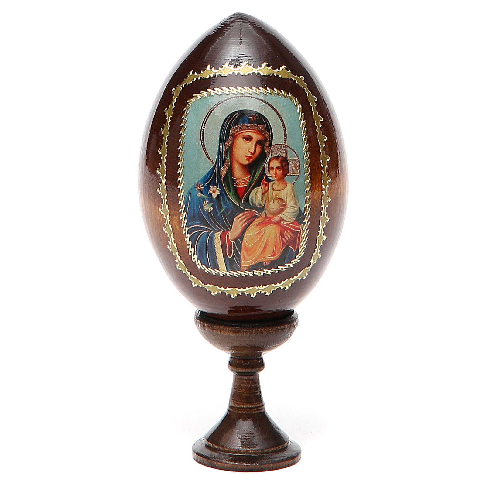 Icona Maria con Bimbo fondo azzurro 4
