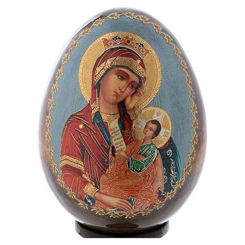 Icona Maria con Bimbo fondo azzurro 2