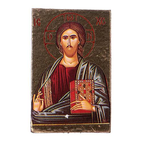 Ícone Jesus impressão madeira trabalhada 2