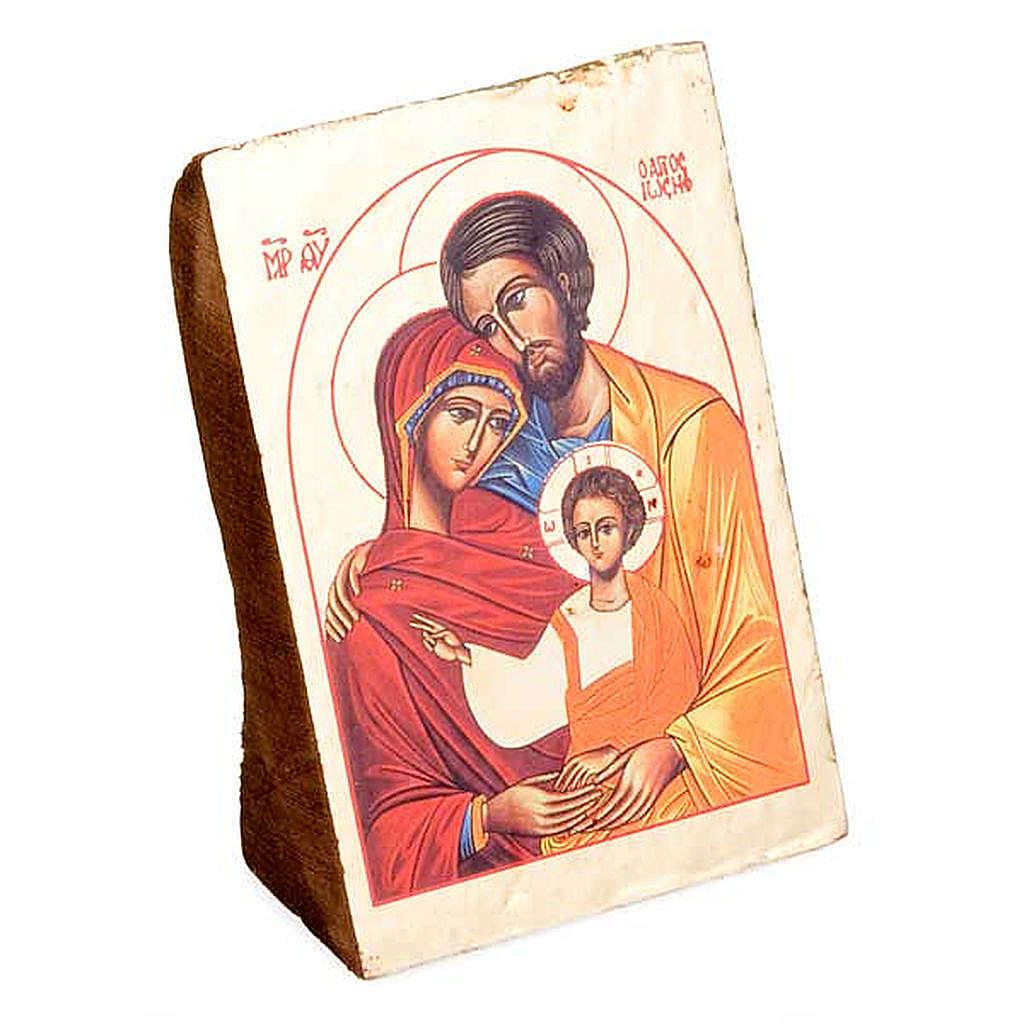 Ícone Sagrada Família impressão madeira trabalhada 4