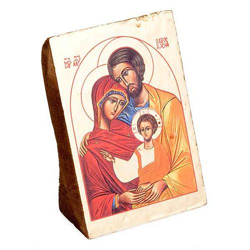 Ícone Sagrada Família impressão madeira trabalhada 1