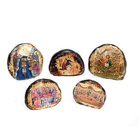 Ícones Impressos em Madeira e Pedra: Ícone impresso terracota cenas