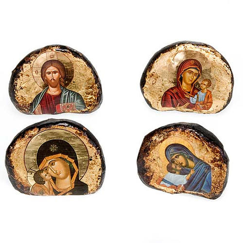 Screen-printed terracotta icons, Jesus and Mary 1
