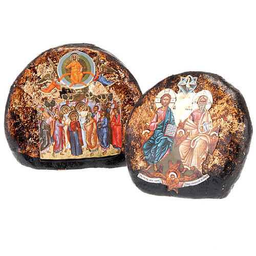 Screen-printed terracotta icon with Ascension, Holy Trinity 1
