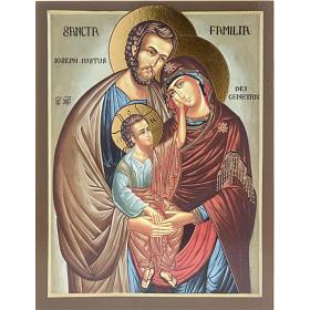 Ícones Impressos em Madeira e Pedra: Ícone impresso Sagrada Família 26x20 cm