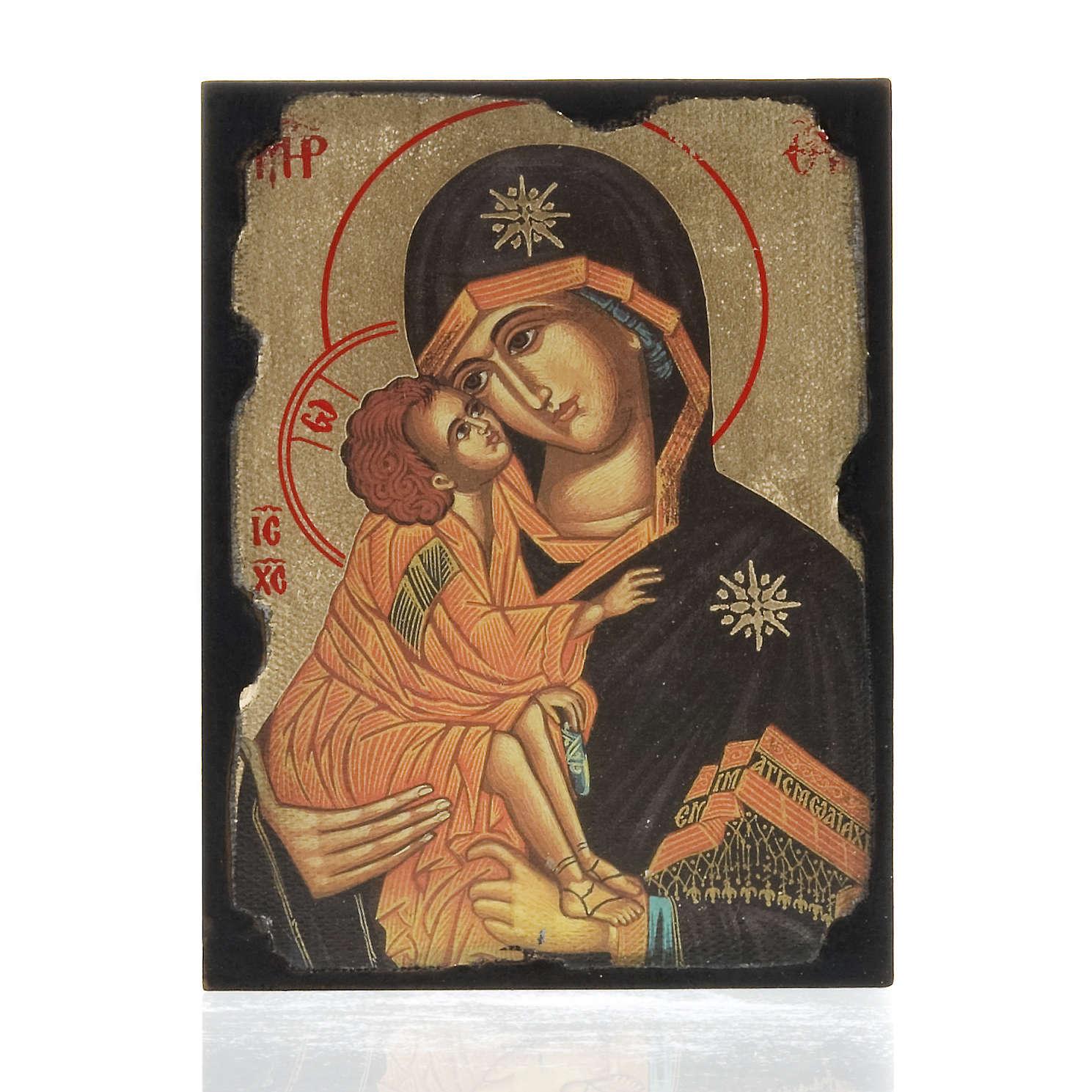 Icona stampa Madonna della Tenerezza su tavoletta 4