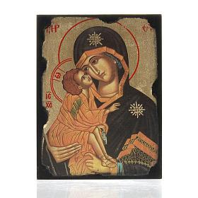 Icona stampa Madonna della Tenerezza su tavoletta s1