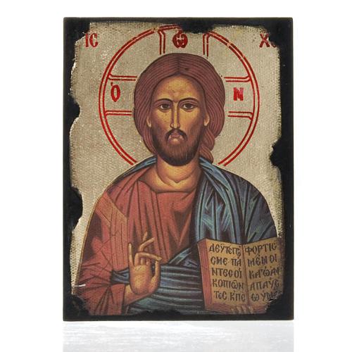 Icon print on wood, Pantocrator 1