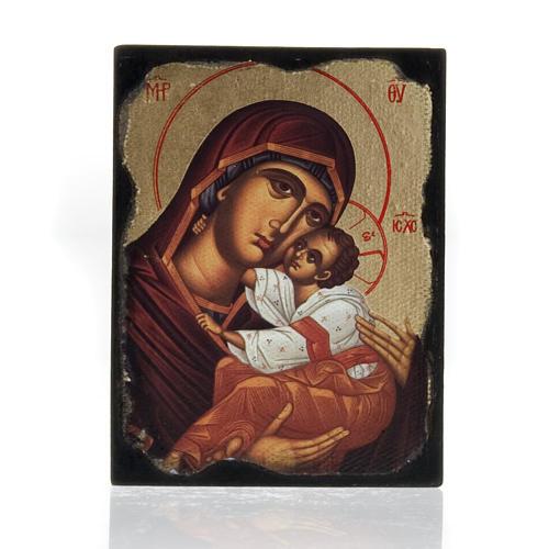 Icona stampa Madonna con bimbo manto rosso 1