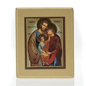 Icona stampa Sacra Famiglia fondo dorato s1