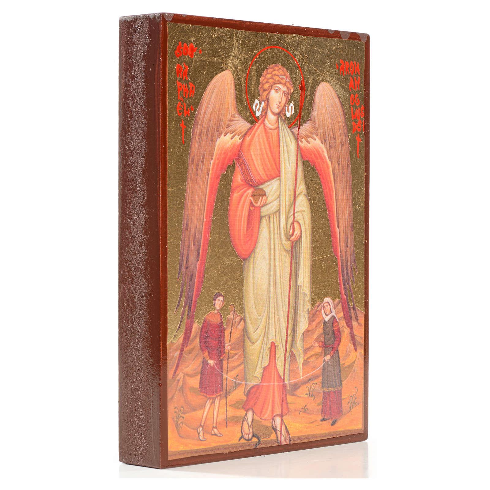 Icono serigrafiado San Rafael hoja de oro 14x10 4