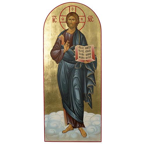 Ícone russo Cristo Pantocrator serigrafia 120x50 cm 1