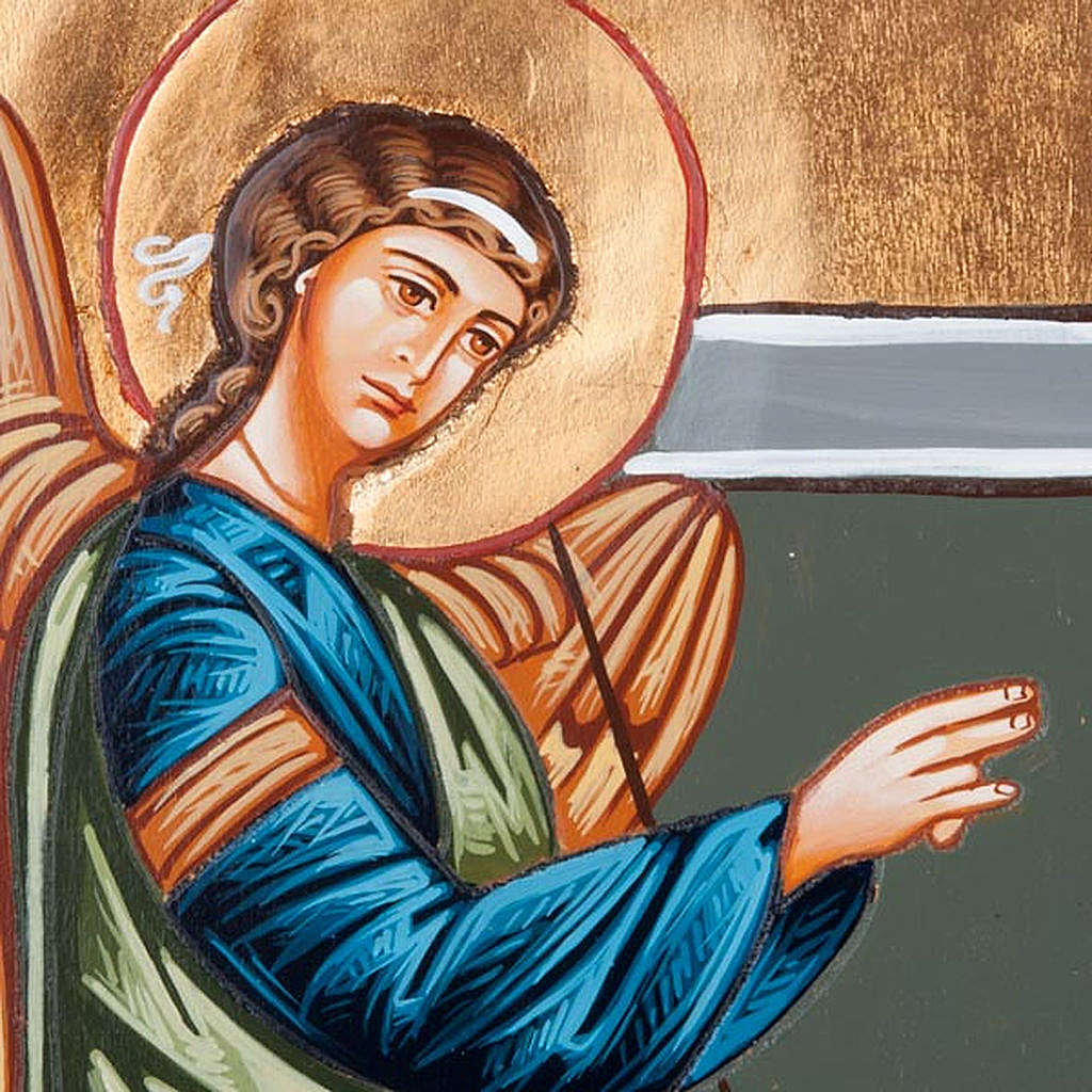 Annunciation icon, with shaped wood panel 40x60cm 4