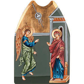 Rumanian hand-painted icons: Annunciation icon, with shaped wood panel 40x60cm