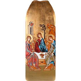 Icona SS Trinità tavola sagomata sfondo oro 45x120 cm s1