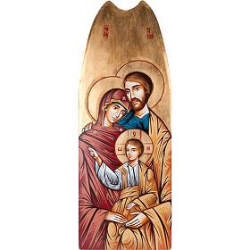 Icona Sacra Famiglia fondo oro 45x120 cm s1