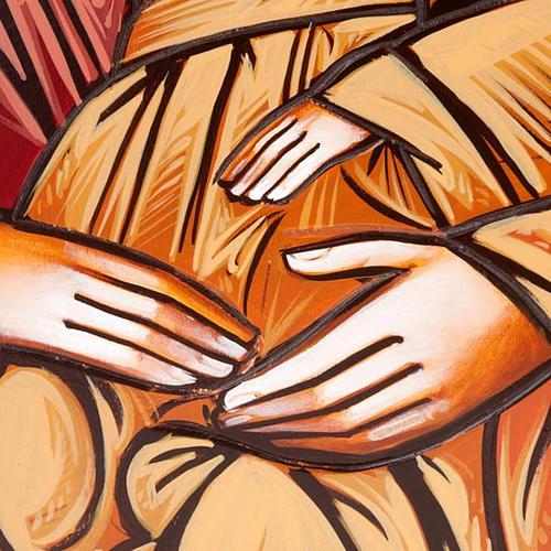 Icona Sacra Famiglia fondo oro 45x120 cm 2