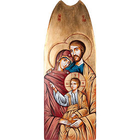 Rumanian hand-painted icons: Holy Family icon with gold background 45x120cm