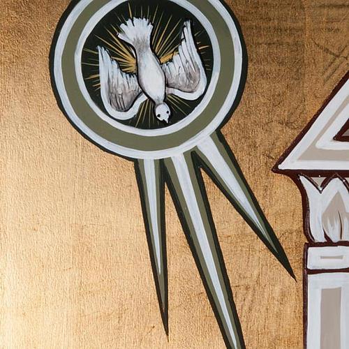 Icona dell'Annunciazione tavola sagomata 120x45 cm 3