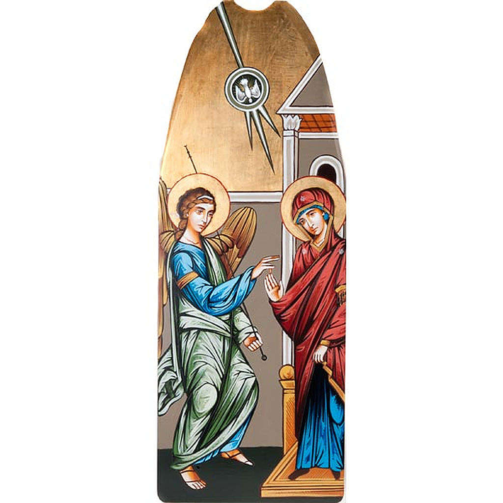 Annunciation icon on shaped wood panel with gold background 45x1 4