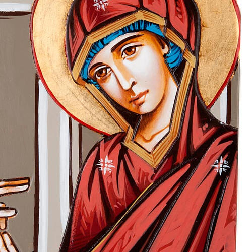 Annunciation icon on shaped wood panel with gold background 45x1 5