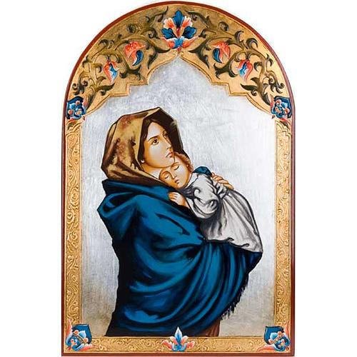 Icône vierge de Ferruzzi avec décors 40x60 cm 1