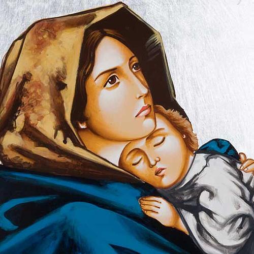 Icône vierge de Ferruzzi avec décors 40x60 cm 2