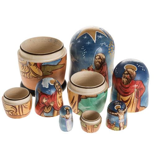 Matriosca russa Natività e 4 scene vita Gesù 8