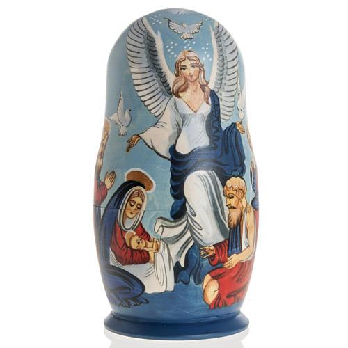 Matryoshka natività con angelo e 4 scene 1