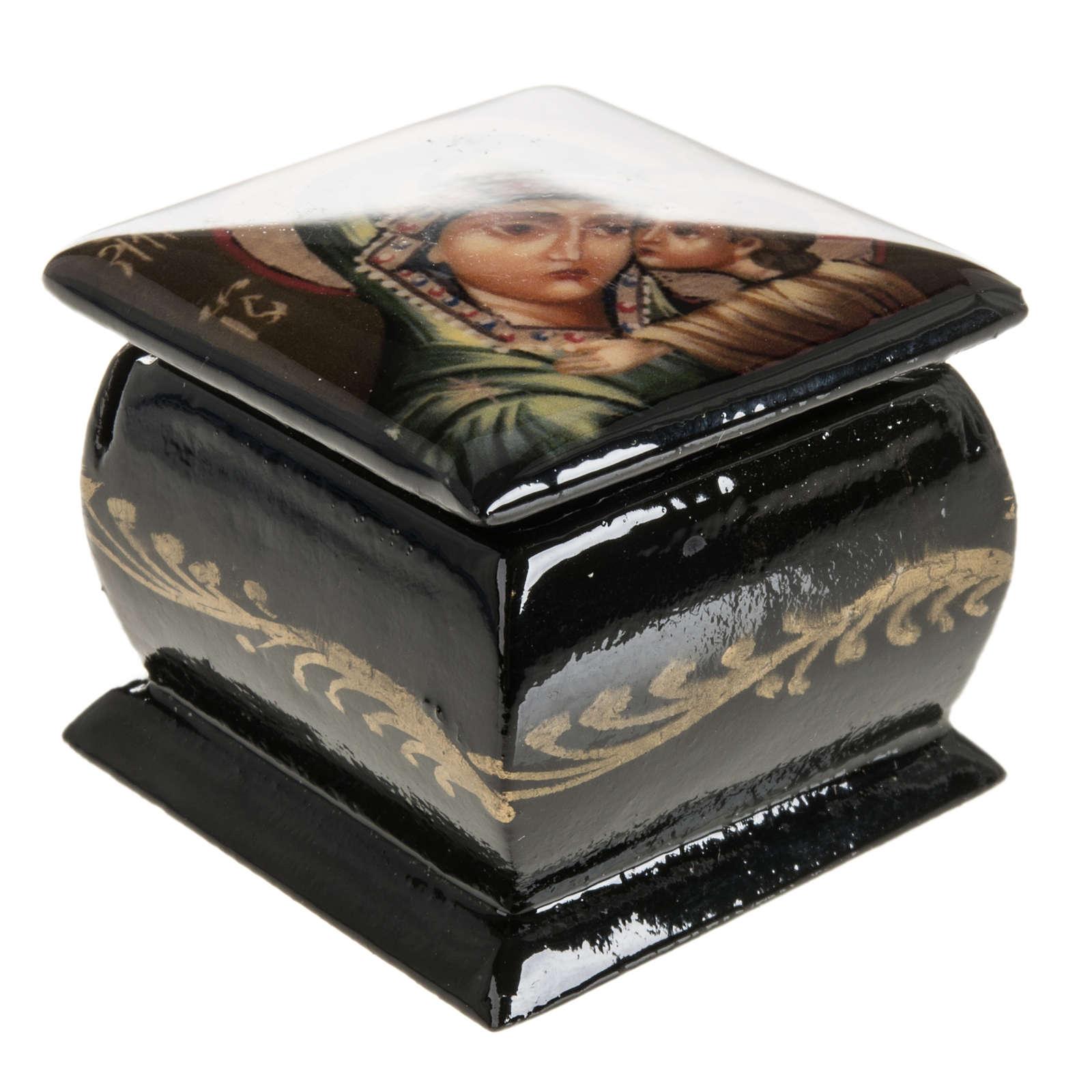 Scatola lacca Russia Madonna manto verde Fedoskino 4