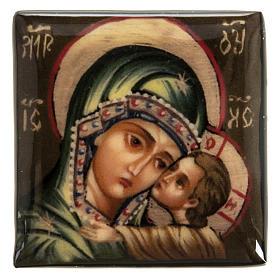 Scatola lacca Russia Madonna manto verde Fedoskino s2