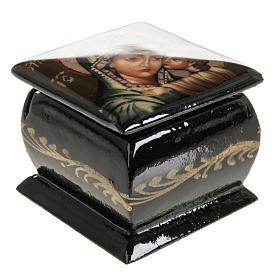 Scatola lacca Russia Madonna manto verde Fedoskino s5