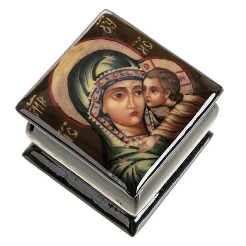 Scatola lacca Russia Madonna manto verde Fedoskino 1