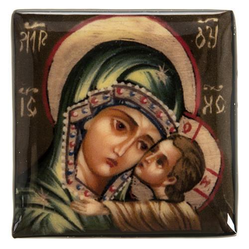 Scatola lacca Russia Madonna manto verde Fedoskino 2
