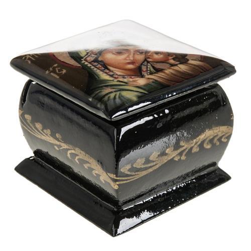 Scatola lacca Russia Madonna manto verde Fedoskino 5