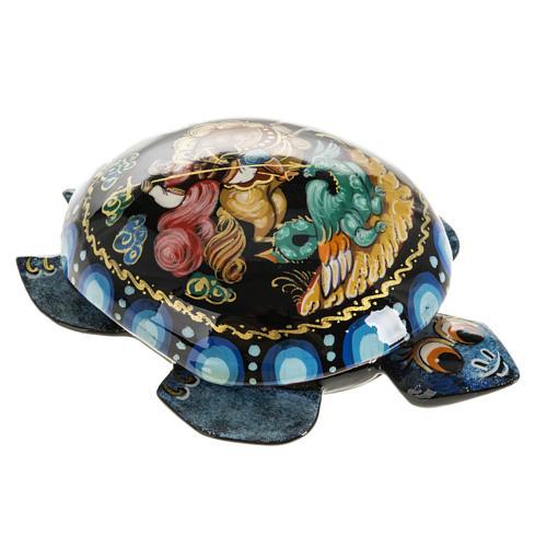 Scatola lacca tartaruga blu San Giorgio Kholuy 1