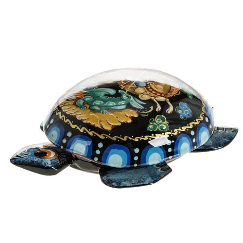 Scatola lacca tartaruga blu San Giorgio Kholuy 5