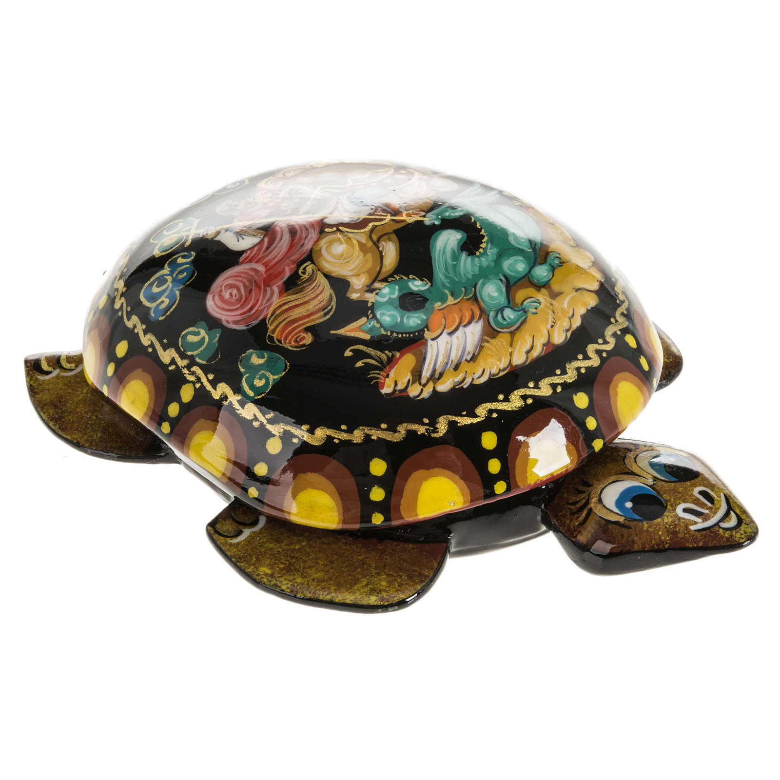 Scatola lacca tartaruga gialla San Giorgio Kholuy 4