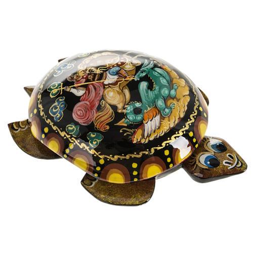 Scatola lacca tartaruga gialla San Giorgio Kholuy 1