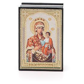 Laca rusa papel maché Virgen con Niño s1