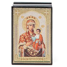 Laca rusa papel maché Virgen con Niño s4