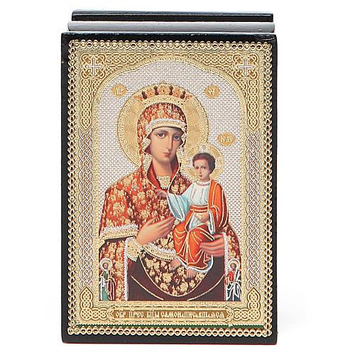 Laca rusa papel maché Virgen con Niño 4